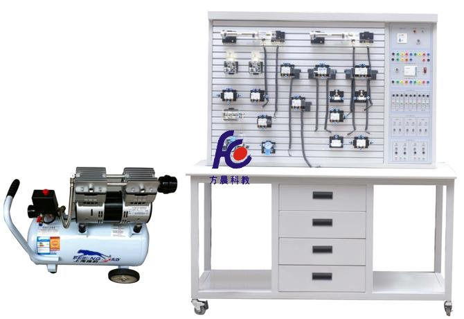 一、主要技术参数 1、输入电源:220V.允差±l0%,50Hz; 2、装置容量:≤2kVA; 3、工作环境温度:-5~40; 4、工作湿度:≤90%(40时); 5、外形尺寸:1500mm×650mm×1750mm 6、静音无油空气压缩机:工作电源:AC220V;电机功率:680W公称容量24L; 额定输出气压1Mpa 7、PLC主机模块:PLC选用西门子S7-200主机,CPU224系列,I/O口24点, 继电器输出形式,主机为14点输入,10点输