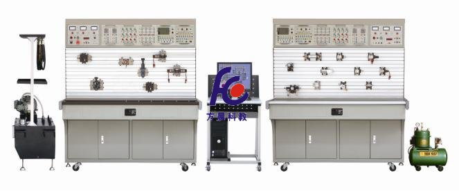 """一、概述 液压与气压传动综合实训装置采用""""二合一""""结构,配备两套实验设备,一套为气动与PLC实训平台,另一套为液压传动与PLC实训平台,且各自配有独立的PLC电气控制设备。 同一套装置既可以分别独立进行液压控制、气动控制的相应基本同路及其应用实验,又可以进行PLC编程及应用控制实验,适用于""""液压传动与控制""""、""""液压与气压传动""""、""""气动技术""""等相关课程的教学实训。 二、 液压传动部分技术参数及指标 集真实的液压元"""